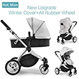 Hot Mom Multi Kinderwagen Kombikinderwagen 2 in 1 mit Windschutz 2018 neues Design - Grey