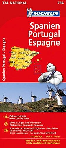 Michelin Spanien / Portugal: Straßen- und Tourismuskarte (MICHELIN Nationalkarten, Band 734)