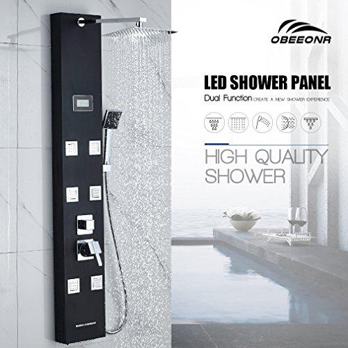 OBEEONR Schwarz Duschset 304 Edelstahl Duschpaneel Duschsystem mit Handbrause und Regendusche Duscharmatur 1300mm Multifunktionales Wasser Armatur Duschsäule