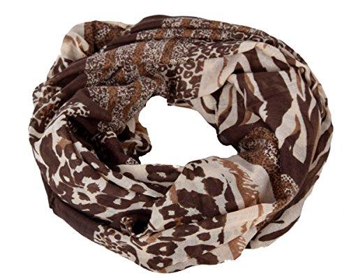 IWEA Damen Loop Schal Schlauchschal in Leoparden Muster Animal Print Braun-Beige IW009 (Schal Animal Print)