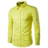 TWBB Oberteile Herren, Sommer Langarm Blumen Zauberfarbe Business Slim Hemd (M, Gelb)