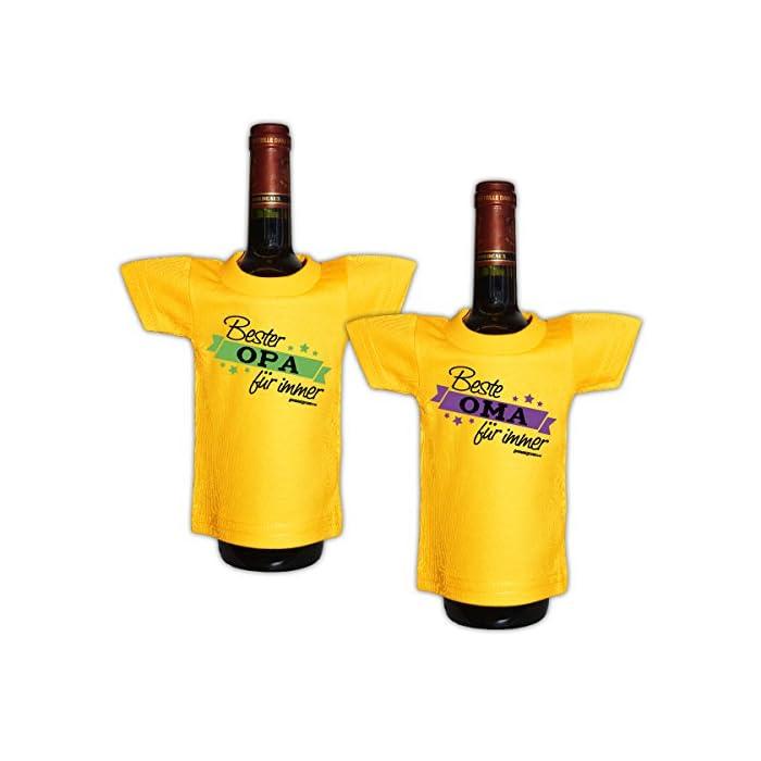 Goodman Design Lustiges Geschenk für Großeltern Mini T-Shirt für Flaschen Opa Oma -- 2 er Set