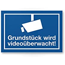 Grundstück wird videoüberwacht Schild, Infozeichen (blau, 30 x 20cm), Hinweisschild, Warnhinweis Videoüberwacht für Einbruchschutz, Warnhinweis Videoüberwacht - angelehnt an DIN 33450