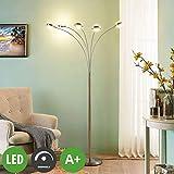 Lampenwelt LED Stehlampe (Bogenleuchte) 'Catriona' dimmbar (Modern) in Alu aus Metall u.a. für Wohnzimmer & Esszimmer (5 flammig, A+, inkl. Leuchtmittel) - LED-Stehleuchte, Floor Lamp, Standleuchte