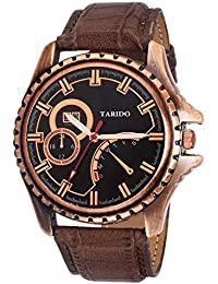 Tarido New Style Copper Dial Leather Strap Analog Wrist Watch For Men/Boy