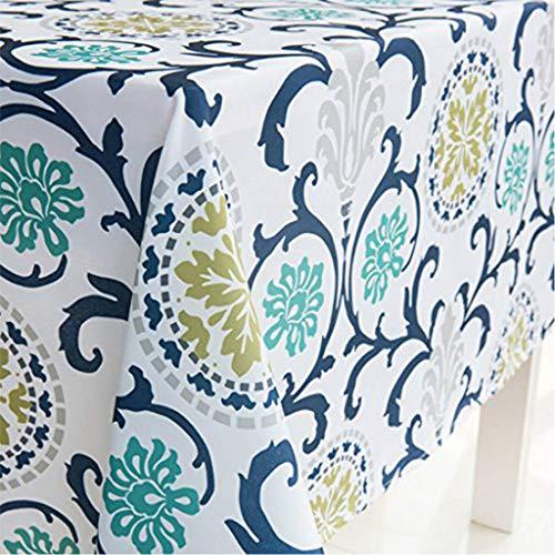 X-Labor Abwaschbar Tischdecke Eckig Wasserdicht Oxford Stoff Tischtuch Tischwäsche Pflegeleicht Garten Zimmer Tischdekoration Blau 140 * 180cm