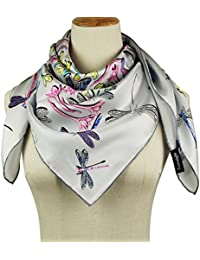 "Silk Square Scarf Head Warp - Pantonight 35.4*35.4"" (2018 New Design) Luxurious Hand Print,Hand Sewing Scarf for Gift as Mother's Day,Birthday,Wedding ,Business or Normal Day Use"