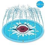 Tappetino Gioco d'Acqua per Bambini 170cm, Splash Play Mat Spruzzi all'Aperto Giochi d'Acqua Sprinkler di Festa con irrigatore Piscina Gonfiabile di Festa Estate Divertimento per Bambini Piccoli