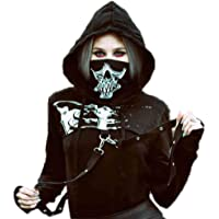 Oneforus Pullover da Donna in Maglia Punk Gotica Nera con Cappuccio Pullover con Cappuccio Steampunk in Metallo con…