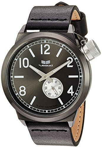 Vestal Men's Canteen Italia' Quartz Stainless Steel and Leather Dress Watch, (Model: CNT3L04) One Size Black
