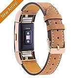 Mornex For Fitbit Charge 2 Bandes de remplacement, bracelet en cuir véritable classique avec des connecteurs en métal, sangle de remise en forme pour la charge 2, or rose et brun clair