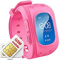 Hangang GPS Tracker Niños Safe Smartwatch Sos Llamadas Localizador de localización de localizador Localizador Para niños Anti Lost Monitor Baby Son Reloj de pulsera (Rojo)