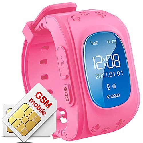 Hangang Reloj GPS Niño smartwach Niño Rastreador Niños Reloj de Pulsera teléfono SIM Anti-Lost Sos Pulsera Parent Control por iPhone iOS y Android Smartphone Q50