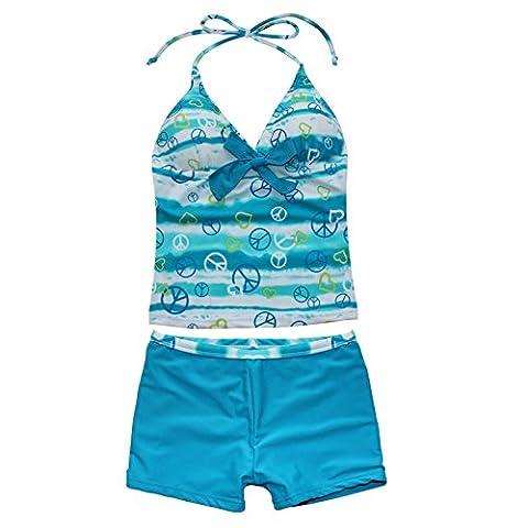 FEESHOW Girls Two Pieces Halter Heart Print Swimsuit Swimwear Tankini