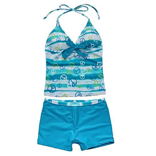 YiZYiF Mädchen Badeanzug Bademode Bikini Tankini Neckholder 2tlg. Set Neu 128 140 152 164 176 Blau 158-164