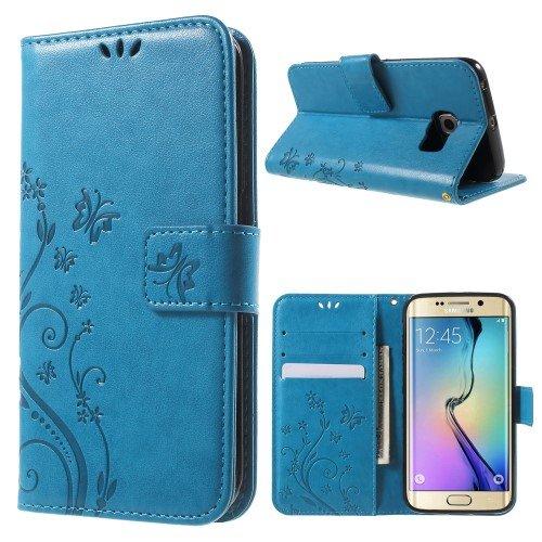 jbTec® Flip Case Handy-Hülle passend für Samsung Galaxy S6 Edge/SM-G925F - Book Muster Schmetterlinge S16 - Handy-Tasche Schutz-Hülle Cover Handyhülle Ständer Bookstyle Booklet, Farbe:Türkis