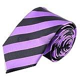 Streifen Krawatte Herren Modern Hochzeit Slim Tie Fest Business Schlips schmal (Lila Schwarz)