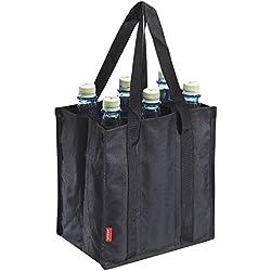 achilles Bottle-Bag 6er, Flaschentasche für 6 Flaschen, Flaschenträger in schwarz, 25 cm x 17 cm x 27 cm
