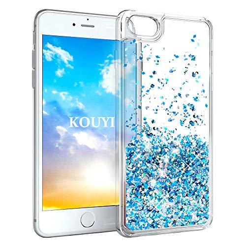 KOUYI iPhone 8/7 Hülle Glitzer, Luxus Fließen Flüssig Glitzer 3D Bling Dynamisch Silikon Weich Flexible TPU Kreativ Shiny Glitter Cover Beschützer für Apple iPhone 8 / iPhone 7 (Silber Blau) -