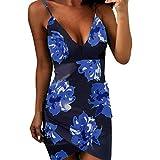 Produkt-Bild: Damen Sommerkleider Forh Frauen Sexy V-Ausschnitt Partykleid Elegante Druck Ärmellos Abendkleider Slim Unregelmäßig Wickelkleid Sling Short Mini Kleid Reizvolle Cocktailkleid