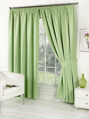 Pair of Sage Green 46″ Width x 72″ Drop , Supersoft Thermal BLACKOUT Curtains INCLUDING PAIR OF MATCHING TIE BACKS, 'Winter Warm but Summer Cool' by VICEROY BEDDING