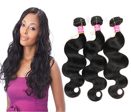 3 tissage de cheveux humains naturels non traités brésiliens vierges trames Body Wave Extensions de cheveux adhésives Couleur naturelle 95–100 g/pc (12 14 16)