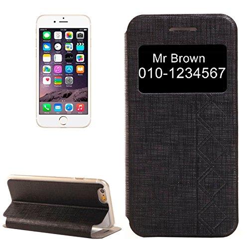 wkae Schutzhülle Fall & Plaid Textur Leder Case mit Halter und Call Display ID für iPhone 6& 6S Schwarz