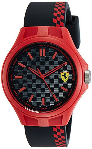 Scuderia Ferrari Men's 0830327 Watch – Rubber Plastic 3 Bar Analogue Black