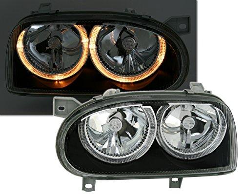Angel Eyes Scheinwerfer Set, Klarglas Schwarz, mit Standlichtringen