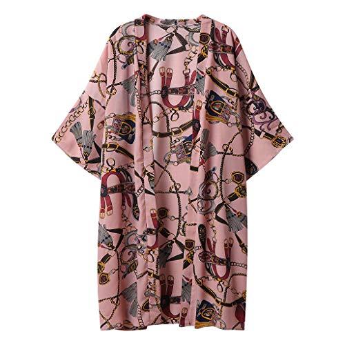 Schal Kragen Open Cardigan (Strickjacke Damen, GJKK Sommer Strickjacke Blumen Druck Open Cape Mantel Lange Bluse Cardigan Kimono Jacke Casual Strand Bikini Cover up Tops)