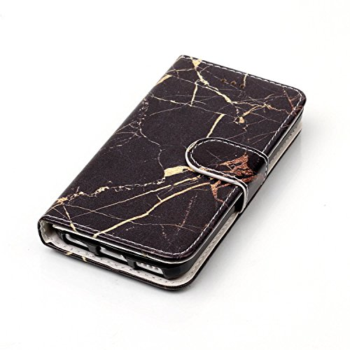Cover iPhone 5C Marmo, iPhone 5C Flip Case Leather, SainCat Custodia in Pelle Cover per iPhone 5C, Anti-Scratch Book Style Protettiva Caso Elegante Creativa Dipinto Pattern Design PU Leather Flip Port marmo oro nero