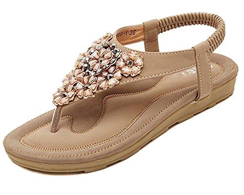Minetom Damen Sommer Böhmische Stil Flache Schuhe Süße Blumen Strass T-Strap Sandalen Flats Thong Strand Hausschuhe Aprikose