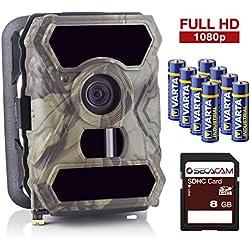 SECACAM HomeVista Full HD Profi Outdoor Überwachungskamera Wildkamera Nachtsicht 100° Weitwinkel 12 MP 1080P wasserdicht kabellos 0,4 Sekunden Auslösezeit, Bewegungsmelder Fotofalle