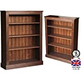Solid Pine Bookcase, 4ft x 3ft Handcrafted & Waxed Display Shelving Unit, Bookshelves. Choice of Colours, No flat packs, No assembly (BK14)