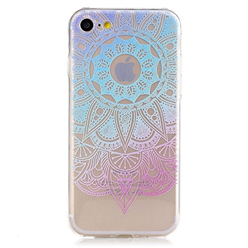 Coque iPhone 6 6s Housse étui-Case Transparent Liquid Crystal Mandala en TPU Silicone Clair,Protection Ultra Mince Premium,Coque Prime pour iPhone 6 6s-Blanc Bleu