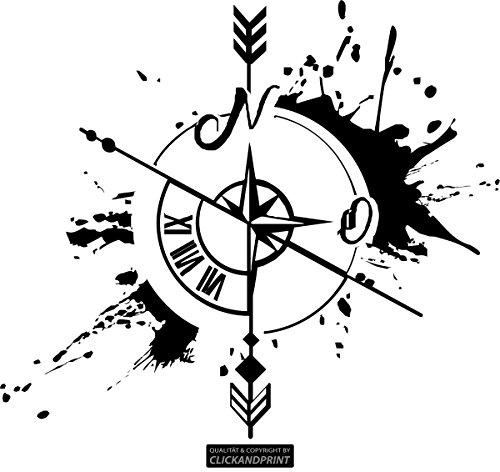 CLICKANDPRINT Aufkleber » Weg und Zeit, 80x70,2cm, Schwarz • Wandtattoo / Wandaufkleber / Wandsticker / Wanddeko / Vinyl