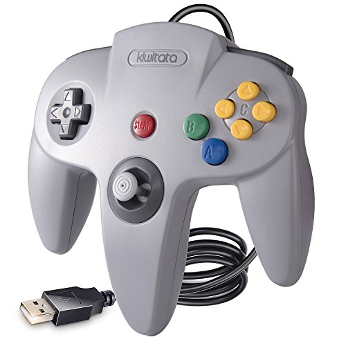 kiwitatá Classic 64 USB N64 Controller, Retro N64 Bit Wired Game Controller Gamepad für Windows PC & MAC grau (Retro Controller Nintendo)