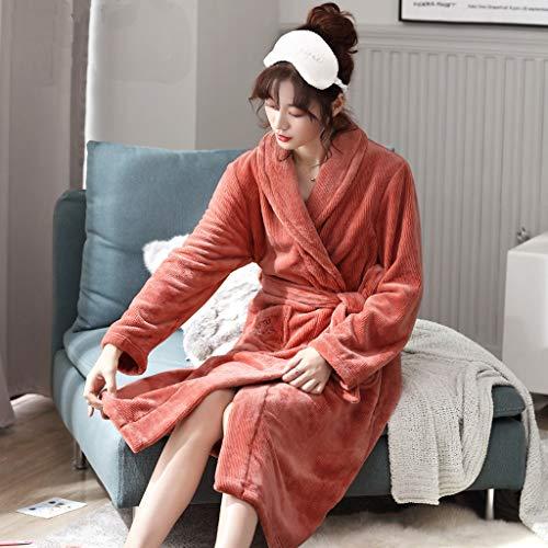 LIUY Bademantel for Frauen, Gewand Coral Fleece Frauen, Plus Samtverdickung Super Soft Bequeme Spa Robe Leichte Bikinihaus (Color : Orange, Size : M)