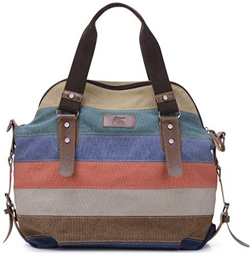 Image of FreeMaster Women's Canvas Multi-Color Hobos Shoulder Bag Tote Handbag Messenger Bag (Multi-Color-B)