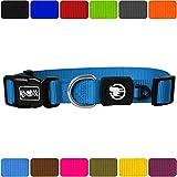 DDOXX Hundehalsband Nylon | für große & Kleine Hunde | Katzenhalsband | Halsband | Halsbänder | Hundehalsbänder | Hund Katze Katzen Welpe Welpen | klein breit Leuchtend bunt | Blau, XL
