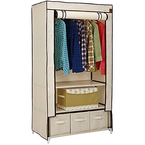 VonHaus Double Canvas Effect Wardrobe Clothes Cupboard Hanging Rail Storage with 2 Shelves & 3 Drawers   Beige   W88 x D50 x