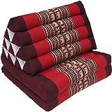 Guru-Shop Cuscino Thai, Cuscino Triangolare, Kapok, day bed con 2 Cuscini - Marrone/rosso, 30x50x120 cm, Cuscino Thai / 2 Supporti