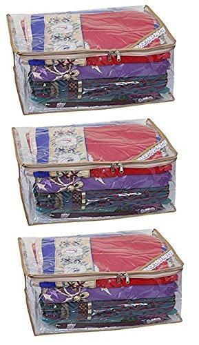 "Kuber Industriesâ""¢ Extra Large Saree cover Set of 3 Pcs Full Transparent With Capacity of 10-15 Sarees (Golden Lace)"