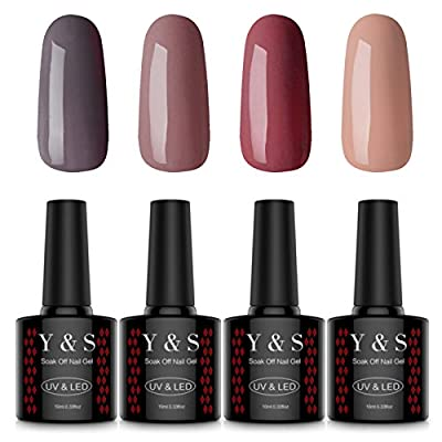 Y&S Soak Off Gel Nail Polish 4 Colours UV LED Gel Polish Set Nail Art Kit #5