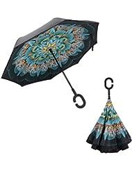 NWSS inversa plegable doble capa invertida paraguas y del uno mismo pie Adentro hacia afuera protección contra la lluvia paraguas con forma de C manos libres mango de paraguas (RojodeTirami) (Pavo real)