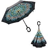 Parapluie Inversé Automatique Double Couche, Anti-UV Soleil Pluie Coupe-Vent Parapluies Avec Les Mains Libres Poignée en Forme de C-Handle Gratuit, Créatif Parapluie Idéal pour Voyage et Voiture et Meilleur don(paon)