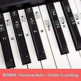 Belfort Klavier + Keyboard Noten-Aufkleber für 49 | 61 | 76 | 88 Tasten + Gratis Ebook | Piano Sticker Komplettsatz für schwarze + weisse Tasten | C-D-E-F-G-A-H | Einfache deutsche Anleitung