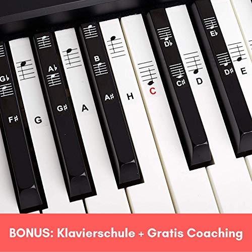 Belfort®️ Klavier + Keyboard Noten-Aufkleber für 49 | 61 | 76 | 88 Tasten + Gratis Ebook | Piano Sticker Komplettsatz für schwarze + weisse Tasten | C-D-E-F-G-A-H | Einfache deutsche Anleitung