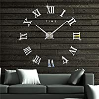ComCreate Large 3D Frameless Wall Clock Stickers Diy Wall Decoration For Living Room Bedroom Home Office Decorations Gift