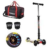 Yorbay Klappbar Kinder Scooter Roller mit LED Rollen Belastbar bis 60KG mit 2x LED Silikonleuchte und Tragetasche (Graffiti Schwarz)